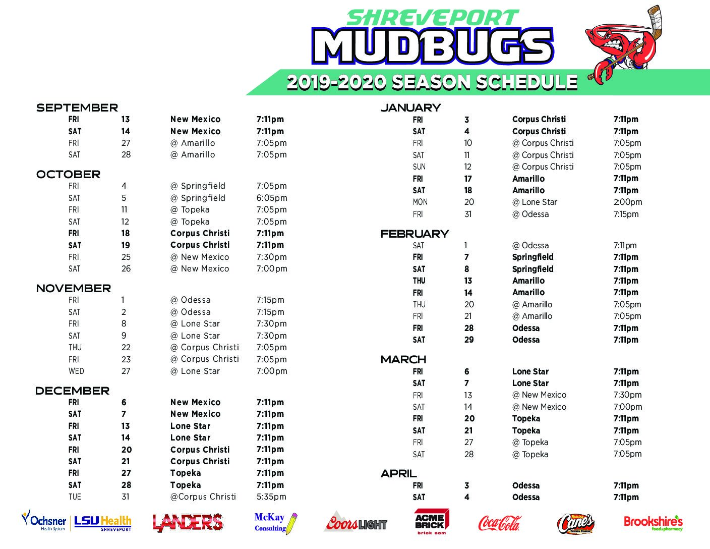 image about Printable Schedule identified as Printable Program Shreveport Mudbugs